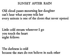 "W. S. Merwin, ""Sunset After Rain"""