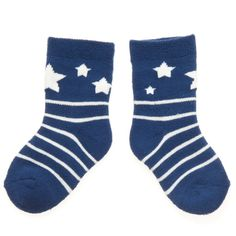 Star socks!  Too cute... made from organic cotton, Polarn O'Pyret.  Navy and white!