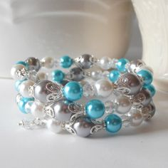 Aquamarine Bridesmaid Jewelry Pearl Memory Wire by FiveLittleGems, $23.00