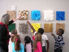 The Eric Carle Museum Art Studio Tour- rotating displays, this was a display of Texture Tiles we created with found materials attached to cardboard