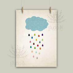 Rain drop colorful raindrops nursery cloud by StudioInBudapest