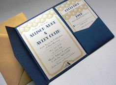 Pocket Fold Wedding Invitations / Scallop Border / by punchpaper