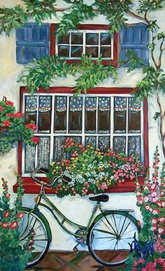 Blue Shutter Bike by Suzanne Etienne Bicycle Painting, Bicycle Art, Blue Shutters, Cottage Art, Mosaic Art, Painting Inspiration, Planting Flowers, Folk Art, Watercolor Paintings
