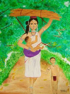Maternal soul - Handpainted Art Painting - X (Framed) Tribal Women, Soul Art, Online Painting, Painting Frames, Hand Painted, Canvas, Artist, Tela, Artists