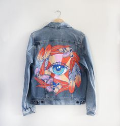 PAINTED DENIM JACKET / PONY GOLD / ONE OF A KIND / UNIQUE / VINTAGE / ILLUSTRATION / EYE /