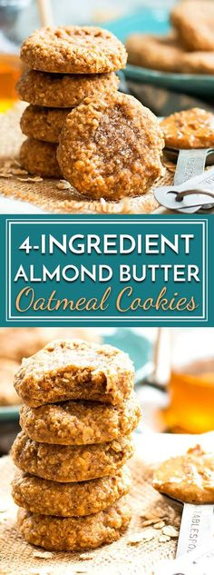 A gluten-free, dairy-free, and refined sugar-free recipe for almond butter oatmeal cookies that is made with only 4 ingredients. These flourless oatmeal cookies are kid-approved and healthy enough to eat for breakfast! via Gluten Free … Healthy Cookies, Healthy Sweets, Healthy Baking, Healthy Snacks, Cookies Vegan, Oatmeal Cookies Gluten Free, Simple Oatmeal Cookies, Baking Cookies, Healthy Cookie Recipes