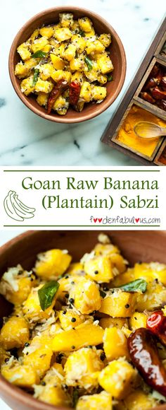 Goan Raw Banana Sabzi Recipe for lightly steamed raw green banana or plantain tossed with mustard seeds and coconut, perfect as a side to any Indian meal. Coconut Recipes Indian, Banana Recipes Indian, Goan Recipes, Spicy Recipes, Kitchen Recipes, Vegetable Recipes, Indian Food Recipes, Healthy Recipes, Ethnic Recipes