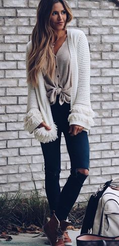 #fall #outfits women's white knitted cardigan. Click To Shop This Look.