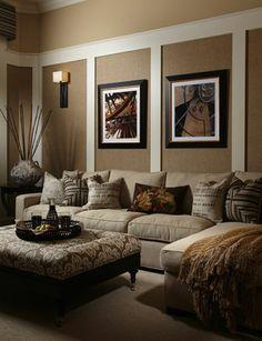 Wandgestaltung Braun Beige Wohnzimmer #1