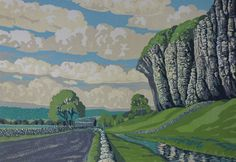 Limited edition lino print by Stuart Brocklehurst; 'Looking South, Kilnsey Crag'