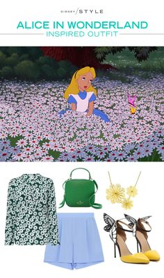 A charming outfit inspired by Disney's Alice in Wonderland! We love the floral print and dreamy heels.