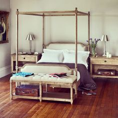 When it's raining this hard outside, all we want to do is stay in bed... A wonderfully comfy French-inspired four poster bed!  Weathered Oak and Linen French Style Four Poster Bed - King Size.  #blueislehome #blueisle #interiordesign #interiors #furniture #bed #fourposter #fourposterbed #rain #autumn #cosy #comfy #french #weatheredoak #weathered #weather