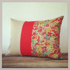 Bright Floral Decorative Pillow - Margaret Annie Liberty Print - Summer Home Decor - Poppy Red Stripe Pillow (Tango)