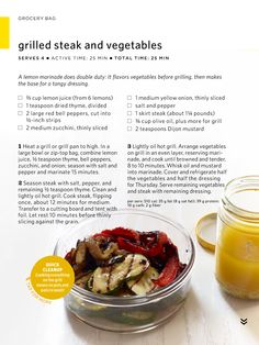 Grilled steak and grilled vegetables // lemon marinade