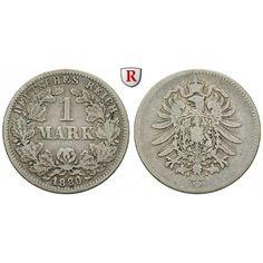 Deutsches Kaiserreich, 1 Mark 1880, G, 5,0 g fein, s+, J. 9: 1 Mark 24 mm 1880 G. J. 9; schön + 25,00€ #coins