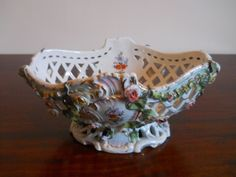 Antique continental porcelain basket 19th century hand painted with flowers in Pottery, Porcelain & Glass, Date-Lined Ceramics, c.1840- c.1900   eBay!