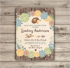 Boy Fall Autumn Baby Baby Shower Rustic Boho Arrow blue Fall Invitations theme Woodland Hedgehog Forest Leaves Burlap Rustic Fall Country