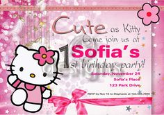 Odesigns Studio: Personalized Hello Kitty Party Set & Invitation