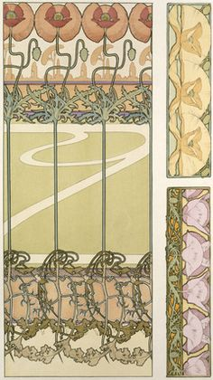Design for Wallpaper with flowers, by Alphonse Mucha