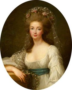 A portrait of Madame Elisabeth, sister of Louis XVI, by (or after) Elisabeth Vigee-Lebrun.
