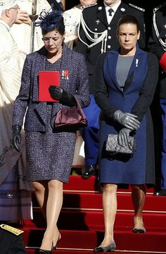 Princess Caroline of Hanover (L) and Princess Stephanie of Monaco leave the cathedral after a mass during the celebrations marking Monaco's National Dayon 19.11.2014 in Monaco.