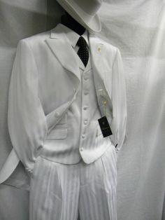 Falcone Mens White Mat Vested Fashion Suit 380-007