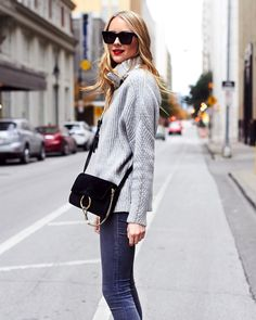 Fall Outfit, Winter Outfit, Chunky Grey Turtleneck Sweater, Grey Skinny Jeans, Celine Black Sunglasses, Chloe Faye Black Handbag, Red Lipstick