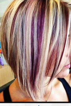 Blonde hair with brown highlights and purple peek a boos ...