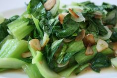Sauteed Bok Choy with Crispy Garlic - Vegan