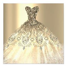 Shop Quinceanera Sweet Birthday Gold Dress Invitation created by luxury_luxury. Diamond Wedding Dress, Dream Wedding Dresses, Wedding Gowns, Diamond Dress, Dress Up, Ball Gown Dresses, Gold Dress, Evening Gowns Uk, Mexican Quinceanera Dresses