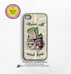 We're all mad here cheshire cat quote Alice iphone case color vers 4/4S-iPhone case 5/5S-Galaxy S4-S5-by Natura Picta-NP1333 by naturapicta on Etsy
