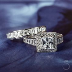 What do you think of this baguette engagement ring set from Sylvie? (Style no. Baguette Engagement Ring, Halo Engagement Rings, Designer Engagement Rings, Engagement Ring Settings, Conflict Free Diamonds, Timeless Fashion, Ring Designs, Take That, Wedding Rings