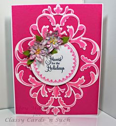 Joy's very bright card is so  pretty! The flowers are just perfect for her card design! More details can be found at http://classycardsnsuch.blogspot.com/2014/11/home-for-holiday.html