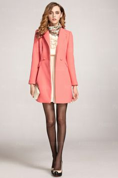 Sweety Double Breasted Slim Coat with Founcing [FEBK0599] - PersunMall.com