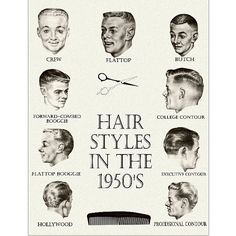Top 100 1950s hairstyles photos Hair Styles in the 1950's Poster – Crew Cut Flattop Butch Forward Booggie Etc. #hairstyles #1950shairstyles #1950s #butchcuts #buzzcutseason #haircuts #barbershops #1950sbarbershop See more http://wumann.com/top-100-1950s-hairstyles-photos/