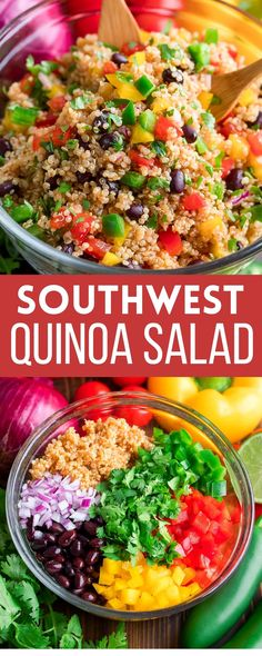 This healthy and delicious Southwest Quinoa Salad is loaded with beans and veggies and dressed in an easy homemade Chili Lime Dressing. So good! Gluten-Free, Vegan, and Vegetarian.
