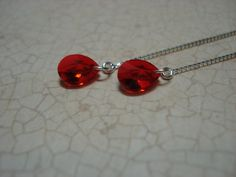 Small Red Swarovski Crystals on Sterling  Ear Threads- Threader Earrings/Necklace-FREE SHIPPING To U.S.- by LeasEarThreads on Etsy