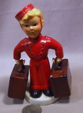 """Vintage Goebel Excelsior Hotel Bellhop W/Suitcases as S Shakers - I pinned this simply to remember the bellhop created n a past season of """"Face Off"""" it was exceptional!"""