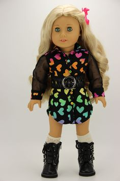Handmade 18 inch doll clothes - Black with hearts 3 piece shirt dress outfit All American Girl Dolls, Dress Outfits, Girl Outfits, Sophia Dress, T Shirt, Shirt Dress, Girl Doll Clothes, Girl Clothing, 18 Inch Doll