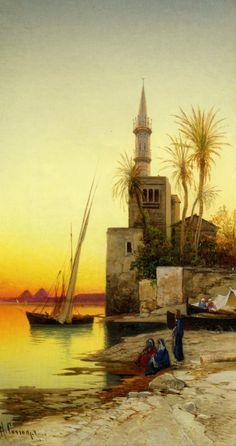 Sunset on the Nile,Hermann David Salomon Corrodi 1844 – 1905