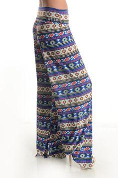 BLUE MULTI COLOR AZTEC GEO PRINT FOLD OVER SILKY WIDE LEG PALAZZO PANTS S M L #WearItLikeADiva #CasualPants