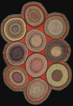 braided rug 1940's wool