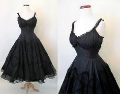 "Stunning 1950's Designer Black Cotton Voile Cocktail Party Dress with Shelf Bust and Lace by ""Rappi"" Rockabilly Vlv Prom Pinup Size-Small"