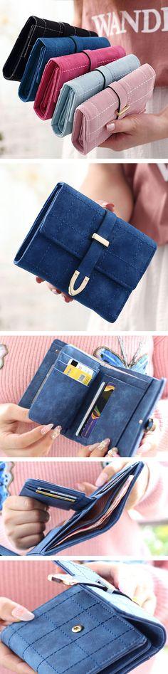 US$11.57  Women 3 Fold Wallet Short PU Leather Wallet Coins Bag