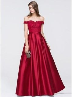 A-Line Princess Off The Shoulder Floor Length Satin Prom Dress With Beading Sequins 018093796 g93796