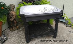 Black and white end table with Leaf stencil design. Decoupage Table,Annie Sloan Graphite,Pure White by RIGHT UP MY ALLEY  DESIGNS. See more here: https://www.etsy.com/listing/223338444/end-tableside-tableunique-tablesmall?ref=shop_home_active_63