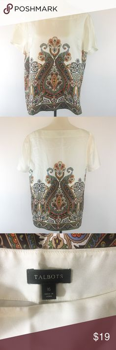 Talbots Top Pretty Talbots Silk Top In Excellent Pre-Owned Condition. Size 16.    (02-3) Talbots Tops