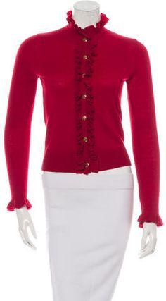 Tory Burch Wool-Blend Ruffle-Trimmed Cardigan Wool Blend, Tory Burch, Cardigans, Sweaters For Women, Stylish, Blouse, Tops, Fashion, Moda