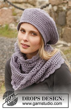 """Victoriana - Set consists of: Crochet DROPS beret and neck warmer in """"Karisma"""". - Free pattern by DROPS Design Crochet Adult Hat, Crochet Cowl Free Pattern, Crochet Stitch, Crochet Poncho, Crochet Scarves, Crochet Clothes, Crochet Lace, Free Crochet, Crochet Patterns"""