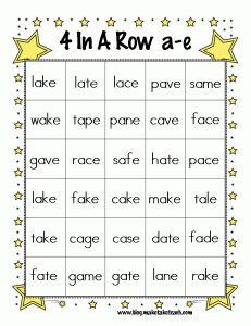 4 In A Row Magic E Bingo! Printable Freebie with the Long A sound from Make, Take, Teach.  #phonics